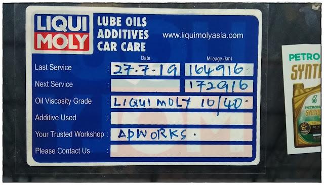 sticker service kereta minyak gear manual Liqui Moly Malaysia.