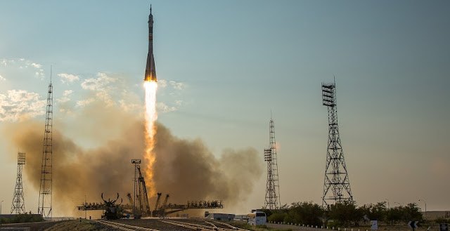 The Soyuz MS-01 spacecraft launches from the Baikonur Cosmodrome with Expedition 48-49 crewmembers Kate Rubins of NASA, Anatoly Ivanishin of Roscosmos and Takuya Onishi of the Japan Aerospace Exploration Agency (JAXA) onboard, Thursday, July 7, 2016 , Kazakh time (July 6 Eastern time), Baikonur, Kazakhstan. Rubins, Ivanishin, and Onishi will spend approximately four months on the orbital complex, returning to Earth in October. Photo Credit: (NASA/Bill Ingalls)