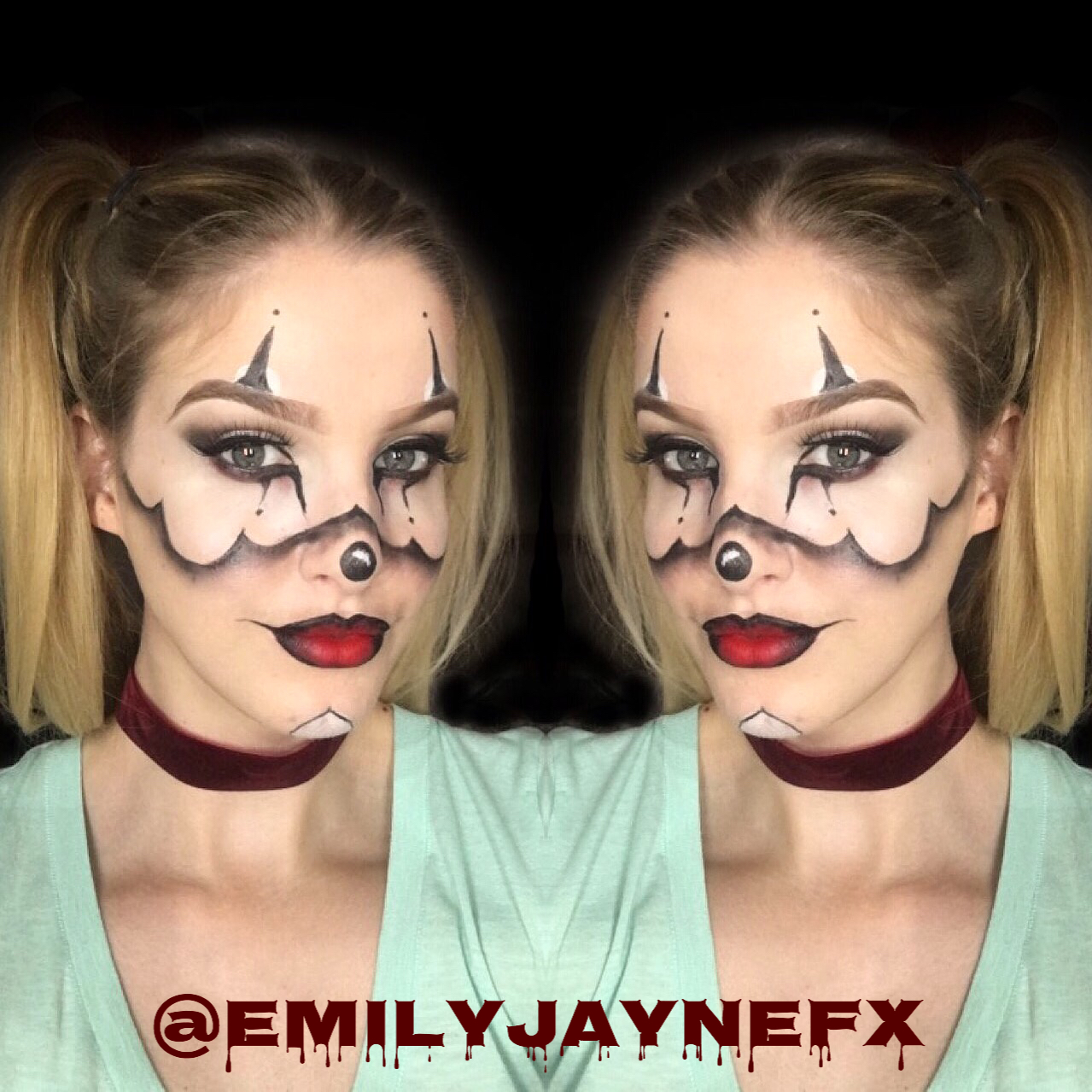 Emilyjaynefx halloween bloody cut crease makeup tutorial cute clown makeup using illamasqua anastasia beverly hills and mac baditri Image collections