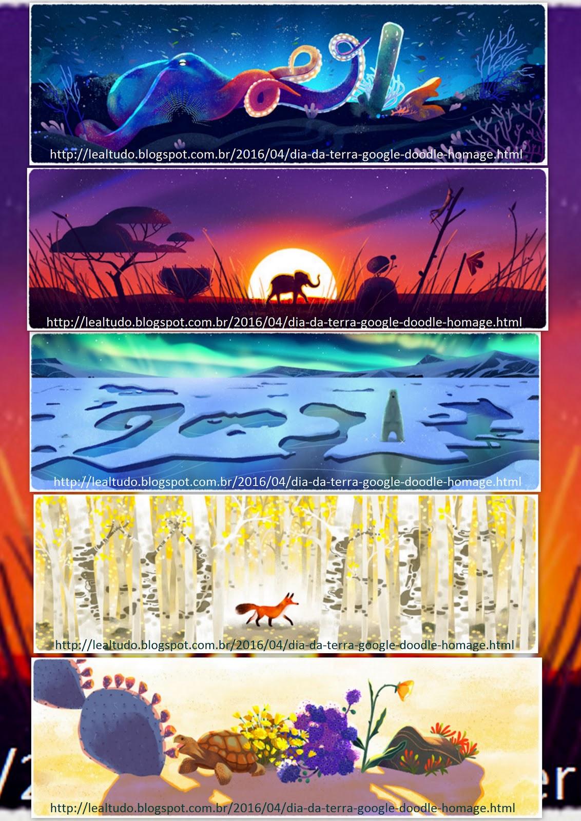 Dia da Terra Google Doodle Homage Homenagem 22 04 2016 LeaLTudo Colagem com Todos