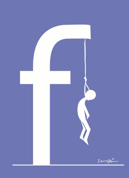 Facebook logo som galge med hængning