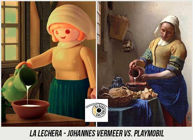 Cuadro-La-Lechera-de-Johannes-Vermeer-Hecho-con-Playmobil