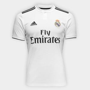 Camisa Real Madrid Home 2018 s/n° Torcedor Adidas Masculina - Branco e Preto