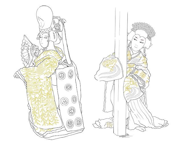 歌舞伎イラスト,歌舞伎、江戸、東京、伝統、芸能、役者、演劇、娯楽、着物、和物、浮世絵、挿絵、、浅草、イラスト、絵、資料、水彩画、イラストレーター検索、イラストレーター一覧、イラスト制作、和風イラスト