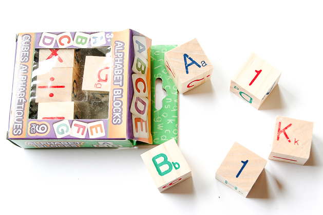 Dollar Tree alphabet blocks before