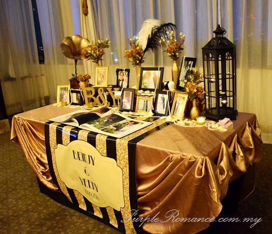 gatsby theme wedding, entrance arch, black, gold, hatten hotel melaka, backdrop, spotlight, decoration, decorator, elegant, 1920s, white feathers, metal lantern, glittered, pearls, B&Y initial block letters, gramophone