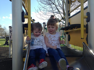 Toddlers at the Park on Slide