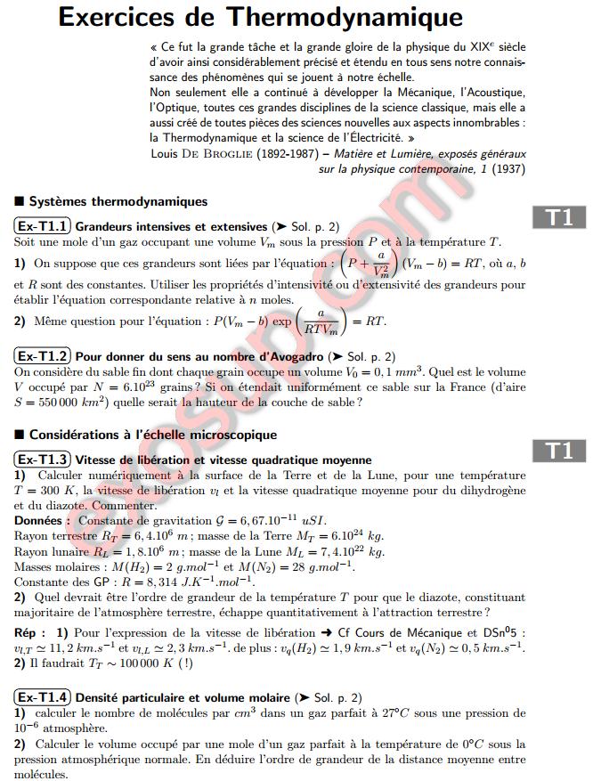 Exercices Thermodynamique Smp S1 Pdf