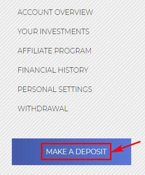 Создание депозита в Investish