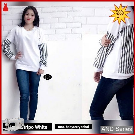 AND372 Sweater Wanita Liona Stripo Putih BMGShop