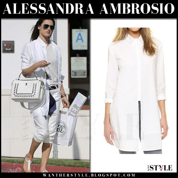 Alessandra Ambrosio in white rta marie shirt, white cropped pants with white fendi dot com bag what she wore