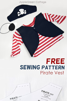 Diy pirate costume with a free pattern to sew a Halloween costume for kids. Get the free sewing pattern here.