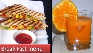 Breakfast menu -1 | cheesy corn sandwich with carrot orange juice