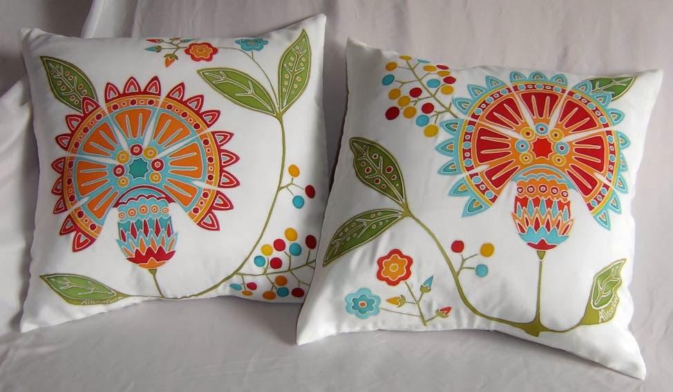 Ilustraciones y telas animadas de alhambra cojines - Cojines pintados en tela ...