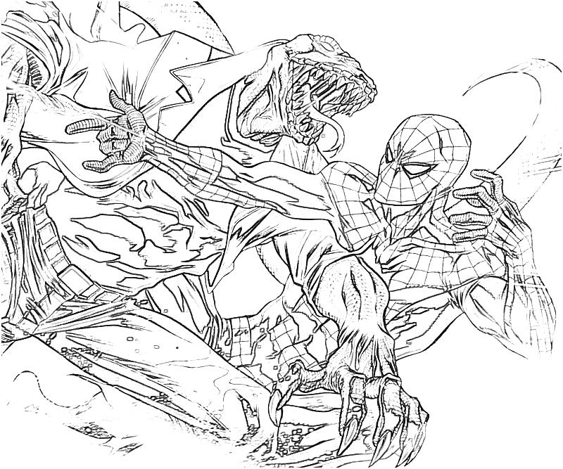 The Amazing Spider Man Lizard Pages Coloring Pages