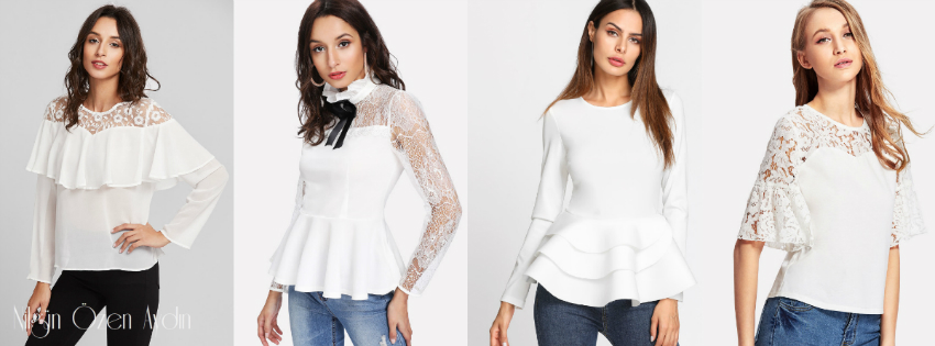 Beyaz Fırfırlı Bluzlar