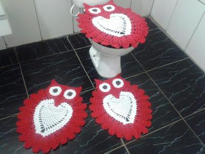 jogo de banheiro coruja esperta em crochê