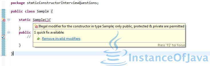 Static construcotr in java interview question