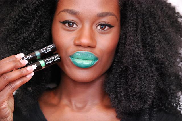 Swatch nyx wicked, swatch lipstick, rouge à lèvre peau noire, nyx macaron, rouge à lèvre vert