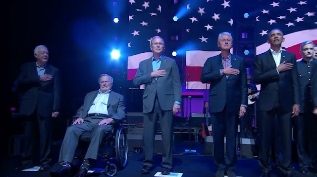 All five former presidents appear together at benefit concert for hurricane relief