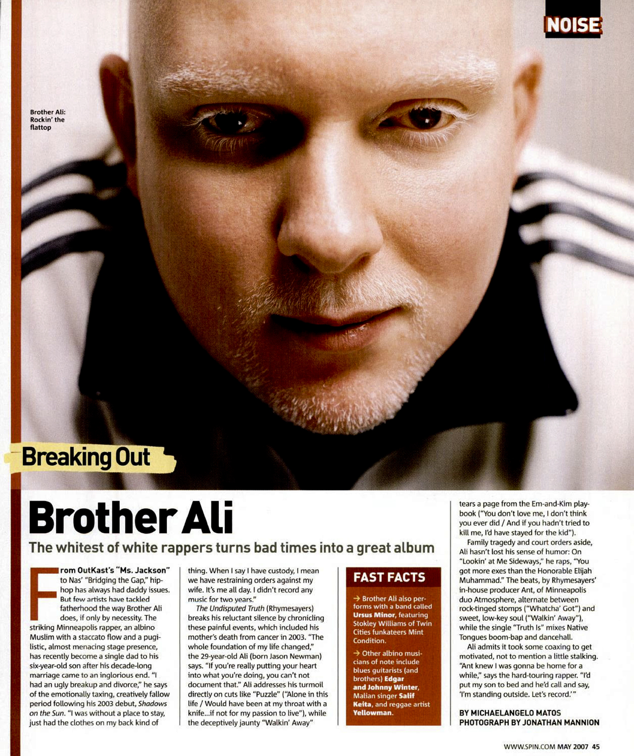 "Brother Ali Spin Magazine 2007 The Undisputed Truth ""Hip-Hop Nostalgia"""