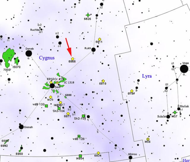 Localização da estrela KIC 8462852 na constelação do Cisne, próximo do aglomerado de estrelas NGC 6866