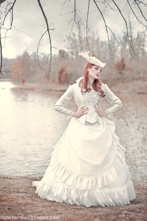 Women's Steampunk Wedding Dress (white bodice, skirt, jacket, and hat) for steampunk brides and bridal ideas