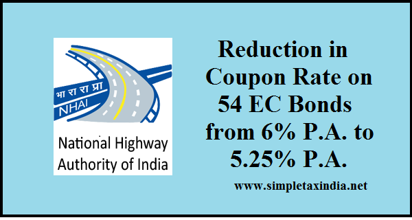 Interest rate 54 ec bonds nhai reduced from 6 pa to 525 pa i application money to be credited in nhais collection accounts on or after 1st december 2016 will be 525 pa till maturity of bonds fandeluxe Image collections