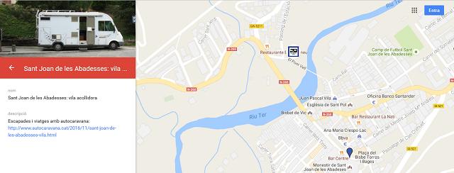 Localització de l'àrea d'autocaravanes de Sant Joan de les Abadesses