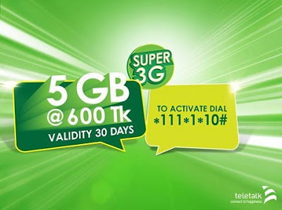 Teletalk 5GB internet data at only Tk. 600 validity 30 days