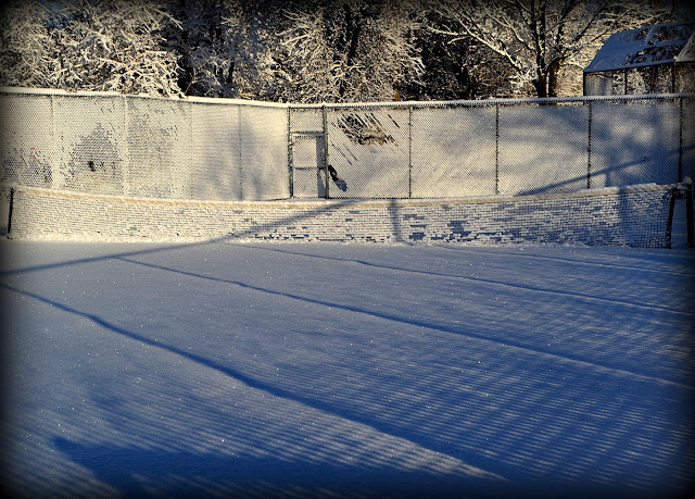 Snow, Obear Park, tennis court, Beverly, Massachusetts, shadows