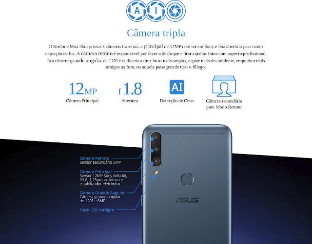 Asus ZenFone Max Shot Câmera Tripla