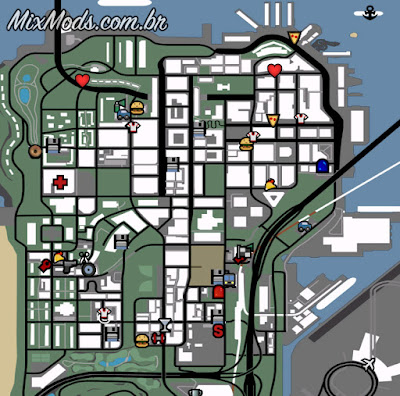 gta sa mod radar hd more icons ícones