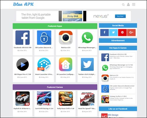 قالبBlue APK لمدونات بلوجر لعرض تطبيقات الاندرويد والكمبيوتر 2017 مدفوع مجانا