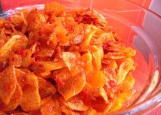Resep sederhana berbahan irisan kentang campur sambal ini lezat juga bila disantap dengan  RESEP MASAKAN KERIPIK KENTANG BALADO
