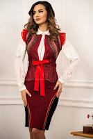 Compleu elegant traditional Venezia din lana de culoare rosu-negru