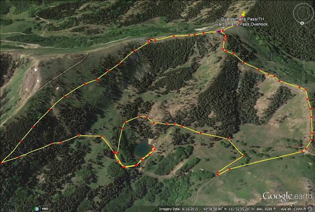 Hiking to Shadow Lake via Guardsmans Pass trail map