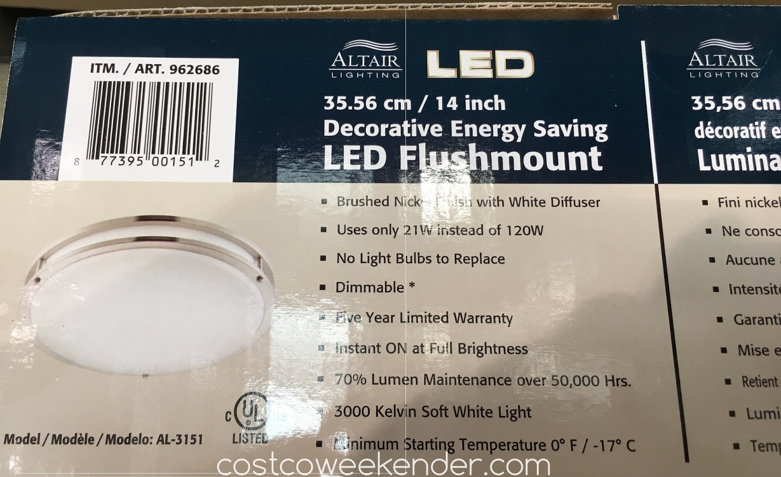 Costco 962686 - Make the switch to LED with the Altair AL-3151 Flushmount