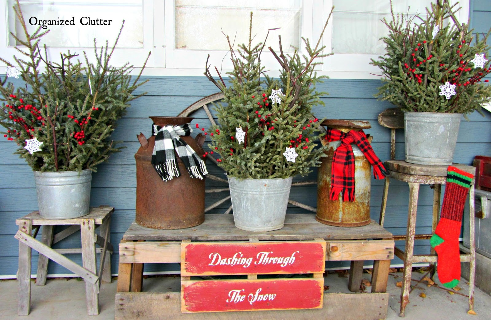 pails milk cans weathered wood christmas greenery wwworganizeclutterqueenblogspot