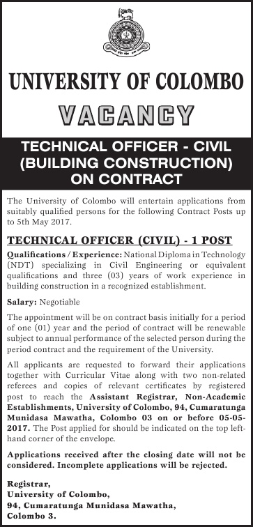 Sri Lankan Government Job Vacancies at University of Colombo for Technical Officer (Civil)