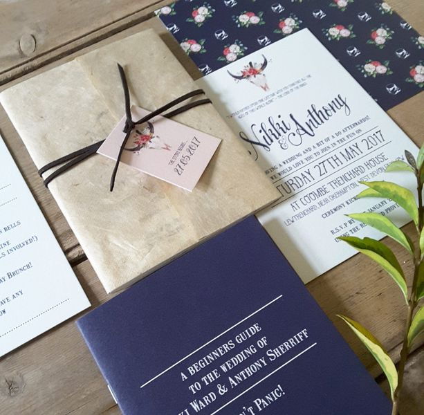 Navy And Blush Wedding Invitations