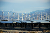 A combined wind and solar energy farm in Palm Springs, California. (Credit: Kevork Djansezian/Getty Images) Click to Enlarge.