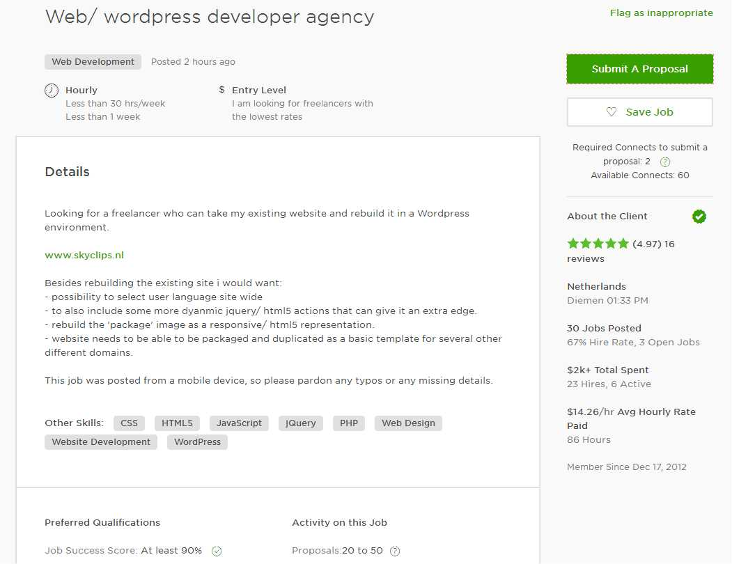 upwork cover letter sample for web designer