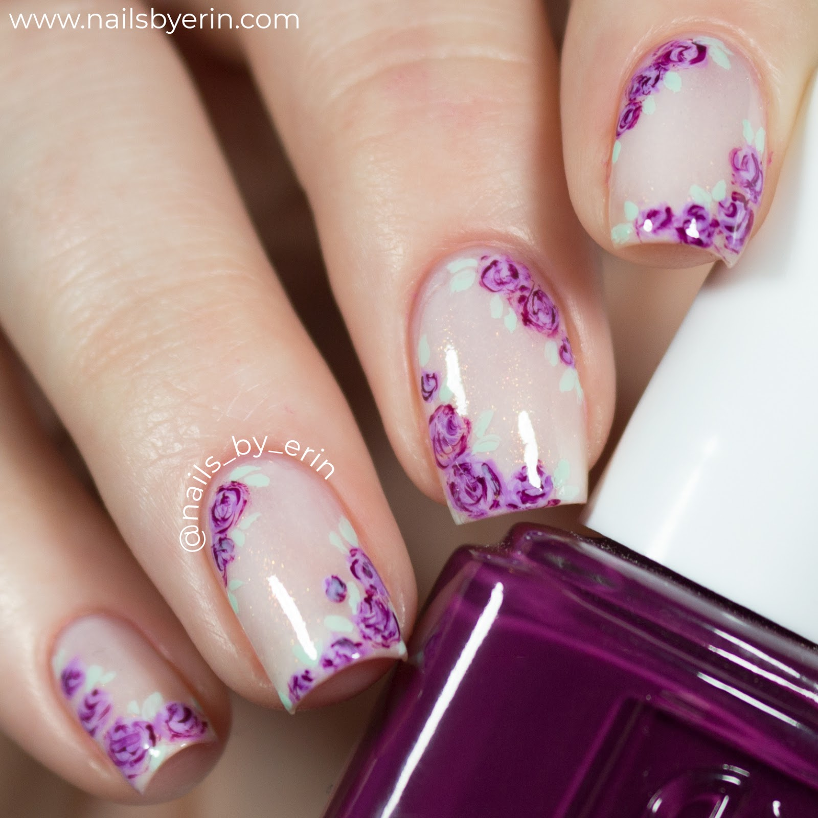 NailsByErin: Sheer White and Purple Floral Nails