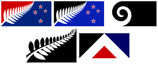 Graphic illustrating the five flag designs up for a vote in New Zealand's November-December 2015 flag referendum: Silver Fern (Black and White), Silver Fern (Red, White and Blue), Silver Fern (Black, White, and Blue), Koru (black), and First to the Light (Red Peak)