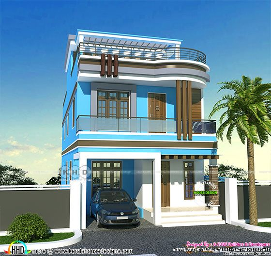 Small double storied blue color exterior paint home in kerala