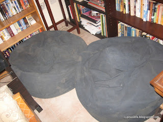 Two blue beanbags