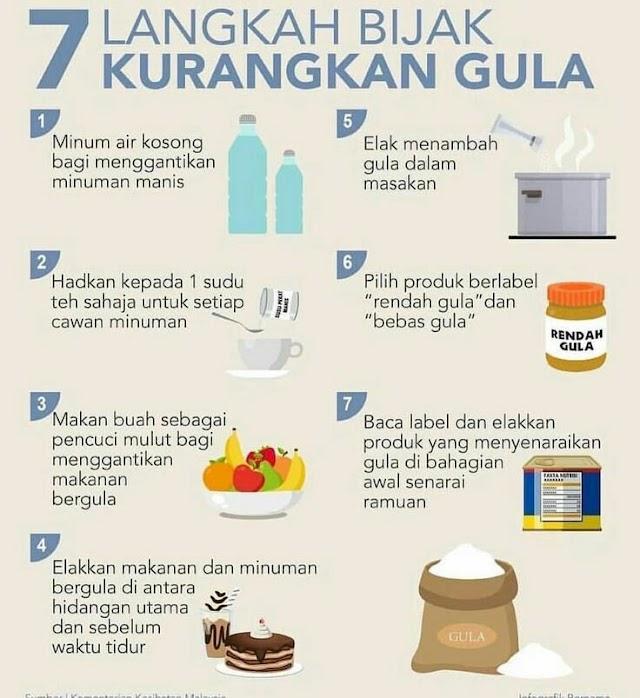 7 langkah bijak kurangkan gula