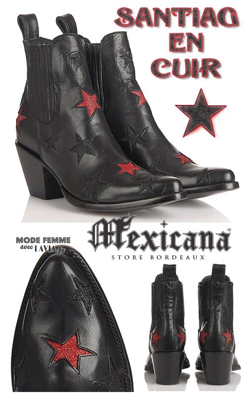 Santiag femme en cuir noire à étoiles pailletées MEXICANA