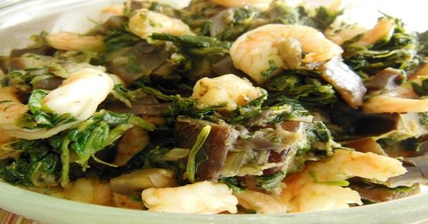 Stir-Fried Spinach, Eggplant & Shrimp Recipe